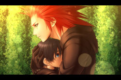 1boy 1girl axel_(kingdom_hearts) banana_gyuunyuu black_coat black_hair blue_eyes commentary_request crying crying_with_eyes_open facial_mark gloves green_eyes height_difference hug kingdom_hearts kingdom_hearts_358/2_days lens_flare parted_lips red_hair short_hair spiked_hair tears xion_(kingdom_hearts)