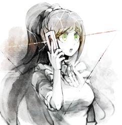 1girl cellphone danganronpa danganronpa_3 green_eyes hair_ribbon high_ponytail long_hair maid monochrome phone ribbon solo youko-shima yukizome_chisa