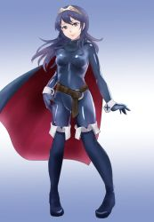 1girl belt blue_eyes blue_hair bodysuit boots cape covered_navel fire_emblem fire_emblem:_kakusei full_body highres himaneko latex latex_suit long_hair looking_at_viewer lucina matching_hair/eyes shiny shiny_clothes skin_tight smile solo tiara