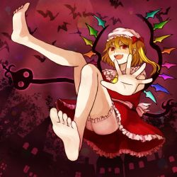 1girl barefoot blonde_hair fangs feet flandre_scarlet hair_bow looking_at_viewer open_mouth pov red_eyes side_ponytail soles toes touhou wings