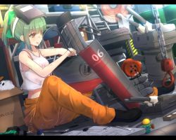 2girls :3 :q bangs bare_arms bare_shoulders barrel black_shoes blunt_bangs bow box cable cannon cardboard_box carton chains closed_mouth cuon_(kuon) drill electric_fan extension_cord fairy_(kantai_collection) green_bow green_hair hair_bow hammer helmet kantai_collection ladder letterboxed machinery mallet mask_on_head mechanical_parts minigirl miss_cloud multiple_girls number orange_pants pipes rensouhou-chan rensouhou-kun robot shelf shirt shoes short_hair sitting sleeveless smile tank_top tongue tongue_out turret watermark web_address welding_mask white_shirt wrench yellow_eyes yuubari_(kantai_collection)