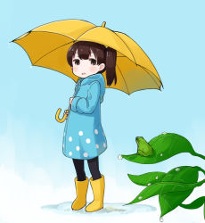 1girl alternate_costume black_legwear boots brown_eyes brown_hair commentary_request frog highres kaga_(kantai_collection) kantai_collection leaf leaves nakashino_setsu open_mouth ponytail rain raincoat rubber_boots short_hair side_ponytail solo umbrella younger