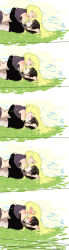 black_hair blonde_hair blush couple girl_on_top grass kiss lying naruto omu_(oku_ak) sai yamanaka_ino