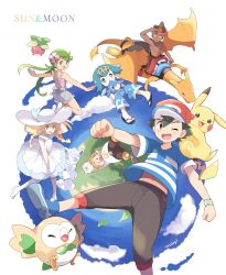 3boys 3girls alola_form alolan_vulpix baseball_cap black_hair blonde_hair blue_eyes blue_hair bounsweet braid capri_pants charizard dark_skin dark_skinned_male dress flower from_behind green_eyes green_hair hair_flower hair_ornament hairband hat highres kaki_(pokemon) lillie_(pokemon) long_hair maamane_(pokemon) mao_(pokemon) mei_(maysroom) multicolored_hair multiple_boys multiple_girls one_eye_closed open_mouth orange_hair overalls pants pikachu pokemon pokemon_(anime) pokemon_(creature) pokemon_sm_(anime) popplio red_hair red_hat red_shorts riding rowlet sandals satoshi_(pokemon) shirt short_hair short_sleeves shorts sleeveless sleeveless_dress striped striped_shirt suiren_(pokemon) sun_hat togedemaru trial_captain twin_braids white_dress white_hat z-ring