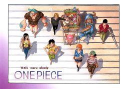 2girls black_hair blonde_hair blue_hair cigarette franky green_hair hair_over_one_eye haramaki hoodie horse jeans monkey_d_luffy multiple_girls nami_(one_piece) nico_robin oda_eiichirou official_art one_piece orange_hair plaid roronoa_zoro sanji smile smoking straw_hat sunglasses tattoo tony_tony_chopper usopp walking
