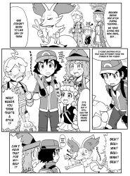border braixen eureka_(pokemon) gouguru monochrome pokemon pokemon_xy satoshi_(pokemon) serena_(pokemon) vibrator