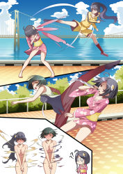 52ikaros :< ? absurdres ahoge araragi_karen araragi_tsukihi assisted_exposure bare_shoulders barefoot black_hair blush bob_cut breasts bridge brown_eyes chibi cleavage clenched_teeth clothes_removed confused covering covering_breasts covering_crotch embarrassed exploding_clothes fighting flailing full-face_blush hair_ornament highres japanese_clothes kagenui_yozuru kimono knife long_hair martial_arts monogatari_(series) nisemonogatari no_bra no_panties nude nude_cover o_o obi open_mouth outdoors pants ponytail public_nudity railing sash short_hair short_kimono sky sleeveless surprised tile_floor tiles track_jacket track_pants track_suit v_arms water wince yellow_eyes