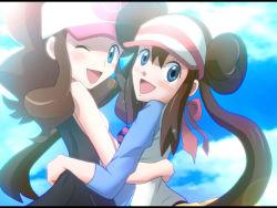 2girls arm_around_waist blue_eyes bow brown_hair double_bun hair_bow hat hug looking_at_viewer mei_(pokemon) multiple_girls one_eye_closed open_mouth pokeball_symbol pokemon touko_(pokemon) winking y@mato