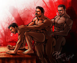 3boys abs anal bara barefoot chris_redfield crossover cum erection facial_hair feet group_sex male_focus multiple_boys muscle nathan_drake nude open_mouth outdoors pecs penis resident_evil sex threesome thrusting toes uncharted wince yaoi