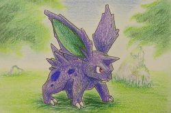 artist_request grass horn nidoran no_humans pokemon red_eyes solo