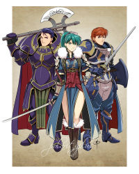 1girl 2boys armor battle_axe blue_eyes boots brown_hair chaps daniel_macgregor eliwood_(fire_emblem) fingerless_gloves fire_emblem fire_emblem:_rekka_no_ken full_armor fur_collar fur_trim gauntlets gloves greaves green_eyes green_hair hair_slicked_back hand_on_hilt hector_(fire_emblem) huge_weapon knee_boots long_coat long_hair lyndis_(fire_emblem) multiple_boys over_shoulder ponytail purple_hair sash shield standing sword vambraces weapon weapon_over_shoulder