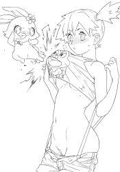 blush breasts crossover dokonjou_gaeru highres jewelpet_(series) kasumi_(pokemon) monochrome navel pokemon pubic_hair pussy pyonkichi ruby_(jewelpet) shorts shorts_pull side_ponytail suspenders underboob xxzero