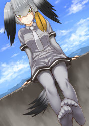 1girl arms_at_sides black_gloves black_hair blue_sky blush breast_pocket breasts cliff closed_mouth collared_shirt day dutch_angle elbow_gloves eyebrows_visible_through_hair feet feet_together fingerless_gloves gloves grey_hair grey_legwear grey_necktie grey_shirt grey_shorts hair_between_eyes kemono_friends kokuryuugan legs_together looking_at_viewer medium_breasts multicolored_hair necktie no_shoes outdoors pantyhose pocket serious shirt shoebill_(kemono_friends) short_sleeves shorts sky sleeve_cuffs soles solo tail toe_scrunch toes twintails two-tone_hair wing_collar yellow_eyes