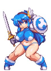 1girl animated animated_gif armor bikini_armor bikini_bottom blue_eyes blue_hair boots bouncing_breasts breasts female fighting_stance gloves hairband huge_breasts impossible_clothes impossible_shirt large_breasts long_hair lowres navel original pixel_art sb sb_(coco1) shield shirt solo sword tecna weapon