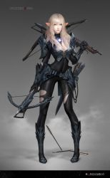 1girl armor armored_boots artist_name blonde_hair bolt boots bow_(weapon) bra breasts chainmail cleavage covered_navel crossbow detached_collar dual_wielding elf full_body green_eyes highres lace lace-trimmed_bra lips long_hair neko_(314089734) original pointy_ears skin_tight solo spaulders underwear vambraces wavy_hair weapon