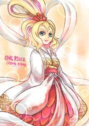 1girl blonde_hair blue_eyes character_name copyright_name dress mermaid monster_girl obi one_piece otohime_(one_piece) queen sash solo
