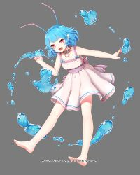 1girl antennae barefoot blue_hair bow company_name dress feet full_body grey_background gyakushuu_no_fantasica millgua official_art pink_eyes pointy_ears simple_background solo toes water