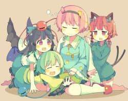 4girls alternate_hair_length alternate_hairstyle animal_ears barefoot baron_(x5qgeh) black_hair black_wings blanket blush_stickers bow braid brown_background cape cat_ears cat_tail dress eyeball eyes_closed full_body green_dress green_hair hair_bow hair_ribbon hairband heart kaenbyou_rin kneehighs kneeling komeiji_koishi komeiji_satori long_hair long_sleeves looking_at_another multiple_girls multiple_tails no_hat no_headwear open_mouth outstretched_arms pink_hair puffy_sleeves red_eyes red_hair reiuji_utsuho ribbon shirt short_hair short_sleeves skirt sleeping slippers smile string tail third_eye touhou twin_braids white_legwear wide_sleeves wings
