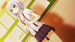 1girl bra breasts classroom cleavage date_a_live game_cg grey_eyes hair_ornament hairclip open_clothes open_shirt pink_bra school_uniform shirt short_hair silver_hair skirt small_breasts solo tobiichi_origami tsunako underwear undressing white_shirt