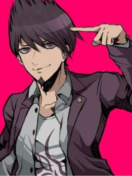 1boy beard danganronpa facial_hair hisida jacket jacket_on_shoulders male_focus new_danganronpa_v3 pink_eyes pointing pointing_at_self purple_eyes purple_hair purple_jacket smile solo upper_body