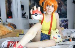 cosplay kasumi_(pokemon) lana_rain looking_at_viewer orange_hair photo poke_ball pokemon short_shorts solo togepi