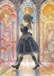 1girl bare_shoulders book brown_hair carrying dress elbow_gloves gloves hair_ribbon hjl layered_dress long_hair original pixiv_fantasia pixiv_fantasia_t purple_gloves red_eyes reflection reflective_floor ribbon signature silver_hair solo stained_glass strapless strapless_dress walk-in