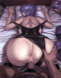 1boy 1girl alternate_breast_size animated animated_gif anus ass ass_grab ayanami_rei back backboob bangs bare_shoulders bed bed_sheet bent_over black_legwear black_swimsuit blinking blue_hair blush body_hair bottomless bouncing_breasts breasts censored clothed_sex dark_skin dark_skinned_male doggystyle from_above from_behind hair_between_eyes half-closed_eyes hetero huge_ass huge_breasts indoors interracial kneehighs leg_hair looking_at_viewer looking_back male_pubic_hair mogudan neon_genesis_evangelion on_bed one-piece_swimsuit open_mouth penis photo_(object) photoshop picture_frame pillow pov profile pubic_hair pussy red_eyes scan school_swimsuit school_uniform sex sheet_grab short_hair sideboob small_waist socks solo_focus strap_slip swimsuit swimsuit_aside top-down_bottom-up uncensored vaginal watermark wide_hips wince