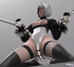 3d animated animated_gif breasts groin kneeling leotard nier_(series) nier_automata nipples restrained yorha_no._2_type_b