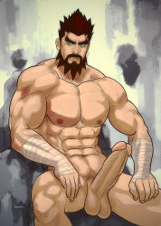 1boy abs bara beard blue_eyes brown_hair hydaria league_of_legends male_focus muscle nude pecs penis sitting solo tagme testicles udyr