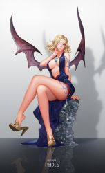 1girl bare_shoulders blonde_hair breasts chains character_name cleavage copyright_name demon_wings dress feet full_body gem hades_(herowarz) hair_over_one_eye hand_on_own_neck herowarz high_heels highres jewelry large_breasts legs legs_crossed looking_at_viewer mulin necklace parted_lips purple_eyes reflection revealing_clothes shadow shoe_dangle short_hair sitting skull solo thighs wings