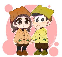 1boy 1girl animal_hat arm_at_side arms_at_sides beanie black_eyes black_hair black_legwear blush_stickers braid brown_eyes brown_hair brown_shorts buttons cardigan cat_hat chibi circle closed_mouth covered_mouth eyebrows eyebrows_visible_through_hair eyelashes flat_color freckles full_body hand_holding hand_to_own_mouth hand_up hat hat_with_ears juushimatsu's_girlfriend kozakura_(i_s_15) legwear_under_shorts long_hair long_sleeves looking_at_viewer matsuno_juushimatsu orange_hat orange_shoes osomatsu-kun osomatsu-san outline pantyhose shirt shoes shorts standing striped striped_shirt twin_braids twitter_username white_background yellow_hat yellow_shoes