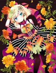 1girl black_legwear blonde_hair blue_eyes detached_sleeves flower frills gloves green_gloves hair_ornament ichiyou_moka kagamine_rin looking_at_viewer lyinh pantyhose short_hair solo vocaloid