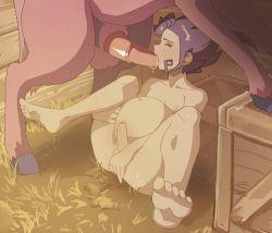 1boy animated animated_gif bestiality fellatio horse inazuma_eleven_(series) inazuma_eleven_go nenna penis spread_legs stomach_bulge tsurugi_kyousuke uncensored yaoi