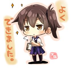 1girl artist_name black_legwear blue_hakama brown_eyes brown_hair chibi commentary_request hakama highres japanese_clothes kaga_(kantai_collection) kantai_collection nontraditional_miko side_ponytail solo taisa_(kari) tasuki text thighhighs thumbs_up translation_request