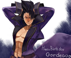1boy abs artist_request black_hair fabulous gordeau hands_in_hair happy_birthday high_collar highres long_coat one_eye_closed pectorals shirtless short_hair solo under_night_in-birth