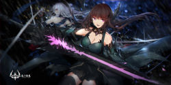 2girls bare_shoulders battle black_dress black_legwear breasts brown_hair cleavage detached_collar dress gauntlets highres looking_at_viewer medium_breasts multiple_girls original parted_lips pink_eyes pixiv_fantasia pixiv_fantasia_t smile swd3e2 sword thighhighs weapon white_hair