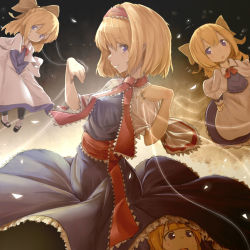 1girl alice_margatroid blonde_hair blue_dress blue_eyes capelet doll dress gradient gradient_background hair_ribbon hairband long_hair looking_at_viewer necktie profile puppet_strings ribbon sash shanghai_doll short_hair smile touhou upskirt watchi