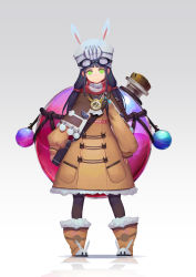 1girl absurdres animal_ears animal_hat bangs black_hair black_legwear blunt_bangs boots brown_boots brown_coat bunny-shaped_buttons bunny_ears buttons character_request clock coat copyright_request fps full_body fur-trimmed_boots fur-trimmed_coat fur_trim goggles goggles_on_head gradient gradient_background green_eyes hat highres long_hair long_sleeves looking_at_viewer low_twintails pocket pom_pom_(clothes) puffy_long_sleeves puffy_sleeves red_scarf reflection roman_numerals rope scarf silver_background smile solo standing test_tube twintails vial white_hat