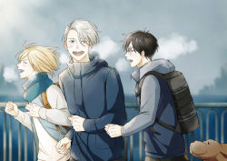 3boys backpack bag black_hair blonde_hair blue-framed_eyewear blue_eyes bridge brown_eyes dog eyes_closed glasses jacket katsuki_yuuri makkachin male_focus mamemomota multiple_boys open_mouth running scarf silver_hair smile track_jacket viktor_nikiforov yuri!!!_on_ice yuri_plisetsky