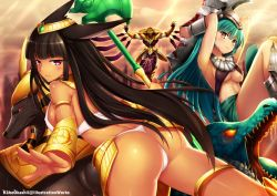 2girls ass azir black_hair breasts dark_skin kaho_okashii league_of_legends long_hair multiple_girls nasus nipples renekton thong