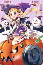 1girl :d :q arm_up artist_name blonde_hair blush breasts brown_eyes candy candy_earrings chocolate_bar cleavage closed_mouth food_themed_hair_ornament ghost glowing glowing_eyes green_hair hair_ornament hat highres house jack-o'-lantern kneehighs lollipop long_hair medium_breasts mononofu44 multicolored_hair open_mouth original platform_footwear pointy_ears pumpkin_hair_ornament purple_background purple_skirt red_eyes riding shoes shoshinsha_mark sitting skirt smile star swirl_lollipop thigh_strap tongue tongue_out twintails two-tone_hair vehicle wariza wheels white_legwear witch witch_hat wrapped_candy