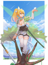 1girl blonde_hair boots braid breasts butterfly cleavage fairy fairy_wings green_eyes highres leafa long_hair mizu_(dl7613) pointy_ears ponytail sword sword_art_online thighhighs tree twin_braids very_long_hair weapon white_legwear wings