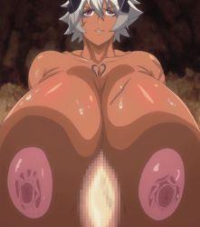 1girl breasts buta_no_gotoki_sanzoku_ni_torawarete_shojo_o_ubawareru_kyonyuu_himekishi_&_onna_senshi:_zettai_chinpo_nanka_ni_maketari_shinai!!_the_animation dark_skin gigantic_breasts helga_(buta_no_gotoki) nipples scar screencap stitched white_hair