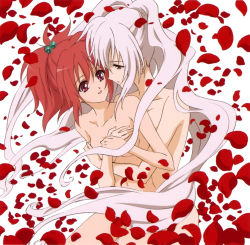 2girls aoi_nagisa couple female flower green_eyes hanazono_shizuma highres hug long_hair multiple_girls nude official_art red_hair strawberry_panic! white_hair yuri