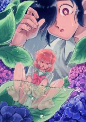 1boy 1girl barefoot black_hair bow flower frog_girl green_skirt hair_over_one_eye highres hydrangea iyagatteru_kimi_ga_suki leaf long_tongue looking_at_viewer minigirl oniyama831 ootsuki_makoto orange_hair original panties pleated_skirt rain red_bow red_eyes red_sclera school_uniform serafuku shirakawa_mikoto short_hair skirt tongue underwear upskirt webbed_feet webbed_hands white_panties
