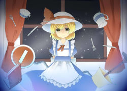 1girl apron arms_behind_back blonde_hair book cup curtains dress elbow_gloves ellipsis_(mitei) fork gloves hat hat_ribbon indoors kana_anaberal knife lamp levitation looking_at_viewer pitcher ribbon road_sign short_hair sign smile solo teacup touhou touhou_(pc-98) window yellow_eyes