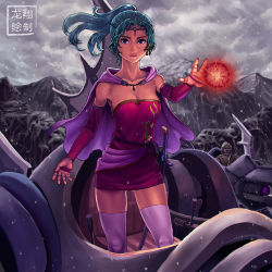 1girl alternate_legwear blue_eyes breasts cape circlet cleavage collarbone dress earrings elbow_gloves final_fantasy final_fantasy_vi gloves green_hair highres jewelry lips long_hair magic magitek_armor mecha nose orb ponytail ryu_shou sheath sheathed short_dress snowing soldier solo_focus strapless_dress sword thighhighs tina_branford weapon