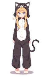 1girl animal_costume animal_ears animal_hood barefoot blonde_hair blush cat_costume cat_ears cat_hood cat_pajamas cat_tail full_body gabriel_dropout hair_ornament highres hood long_hair looking_at_viewer shone simple_background sketch tail tenma_gabriel_white white_background