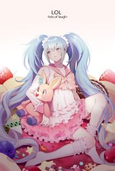 1girl blue_eyes blue_hair blueberry checkerboard_cookie cookie copyright_name food fruit gotmil hatsune_miku kneehighs long_hair lots_of_laugh_(vocaloid) sailor_collar scrunchie sitting socks solo star strawberry stuffed_animal stuffed_bunny stuffed_toy twintails very_long_hair vocaloid