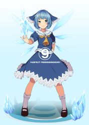 (9) 1girl adapted_costume ascot blue_eyes blue_hair bow cirno frilled_skirt frills full_body hair_bow hand_on_hip highres ice ice_wings looking_at_viewer outstretched_arm shirt short_sleeves skirt skirt_set smile socks solo standing takeka_fungi touhou wings